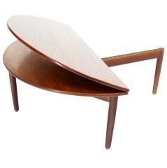 Mid-Century Danish Modern Demilune Round Flip-Top Coffee Table