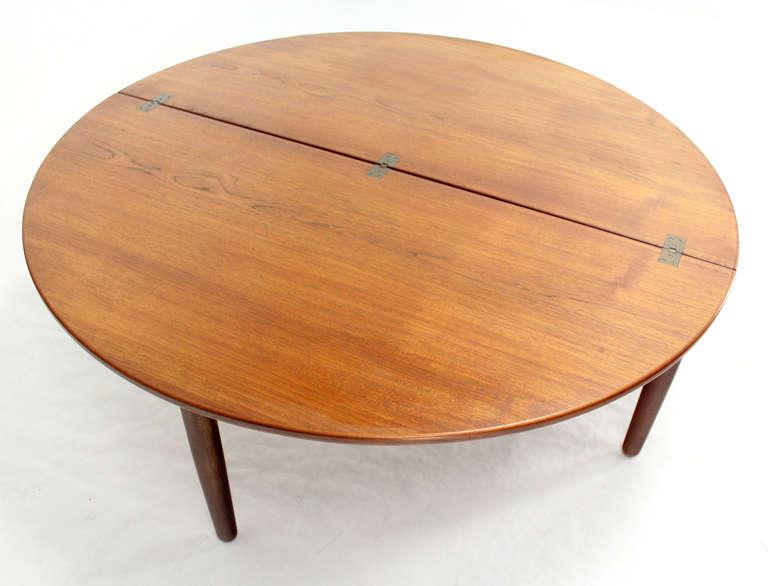 Mid Century Danish Modern Demilune Round Flip Top Coffee Table Image 7