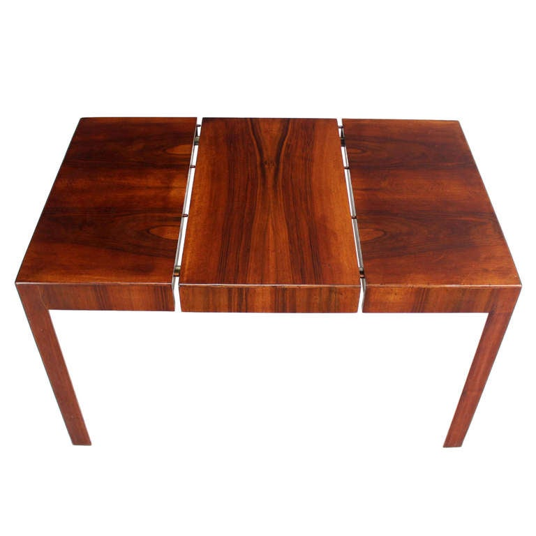 modern square dining table. oiled walnut italian mid-century modern square game dining table with one leaf 1