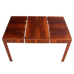 Oiled Walnut Italian Mid-Century Modern Game or Dining Table with One Leaf