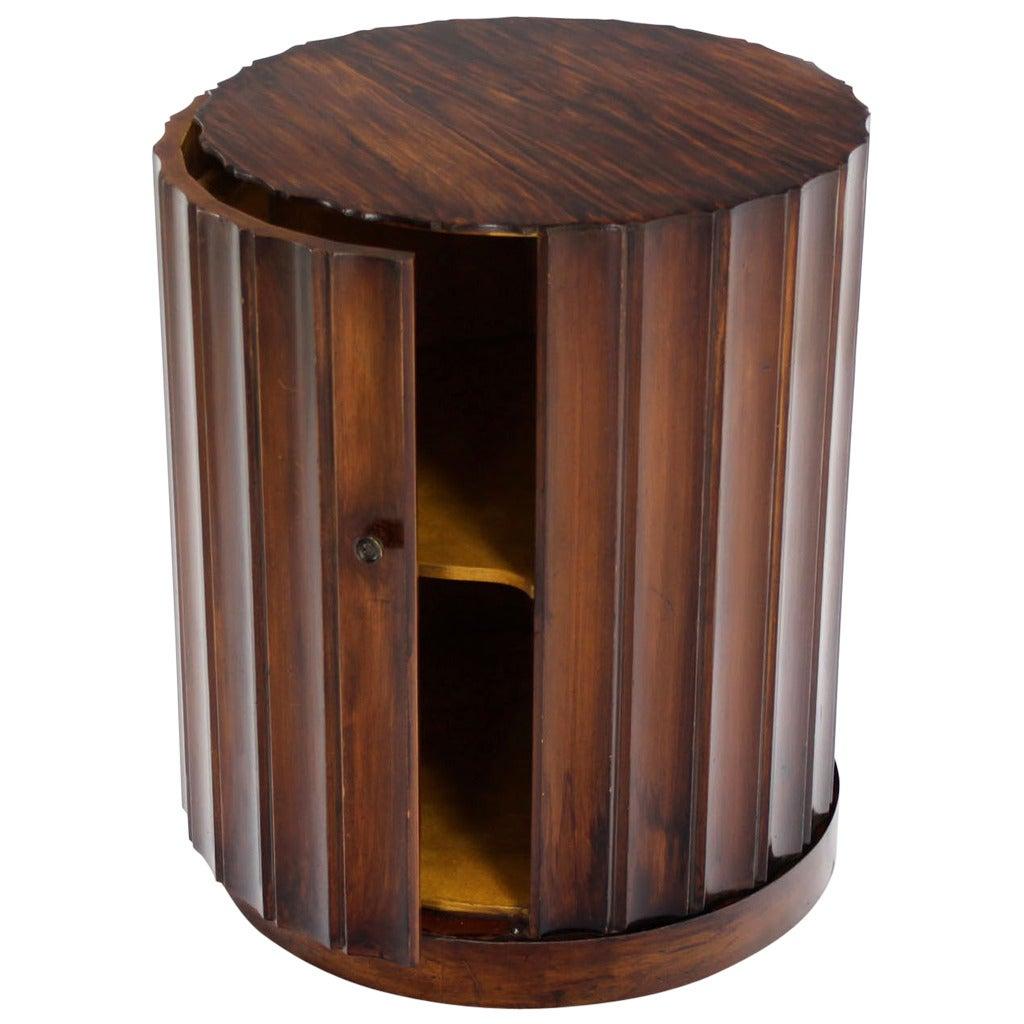 Round Mid Century Modern Pedestal Storage Bar Cabinet 1