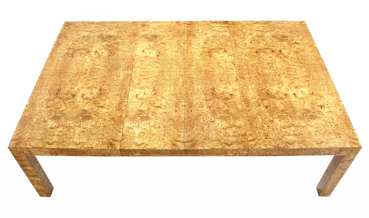 Huge Square Burl Wood Dining Or Conference Table With Two Leaves By - Large square conference table