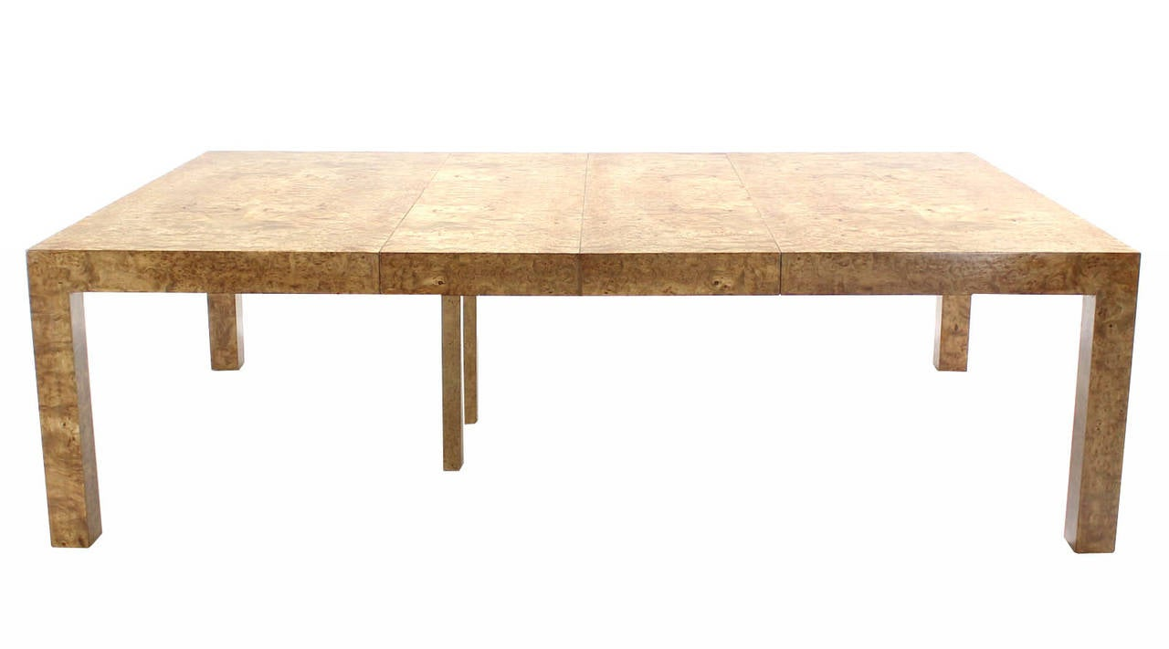 huge square burl wood dining or conference table with two