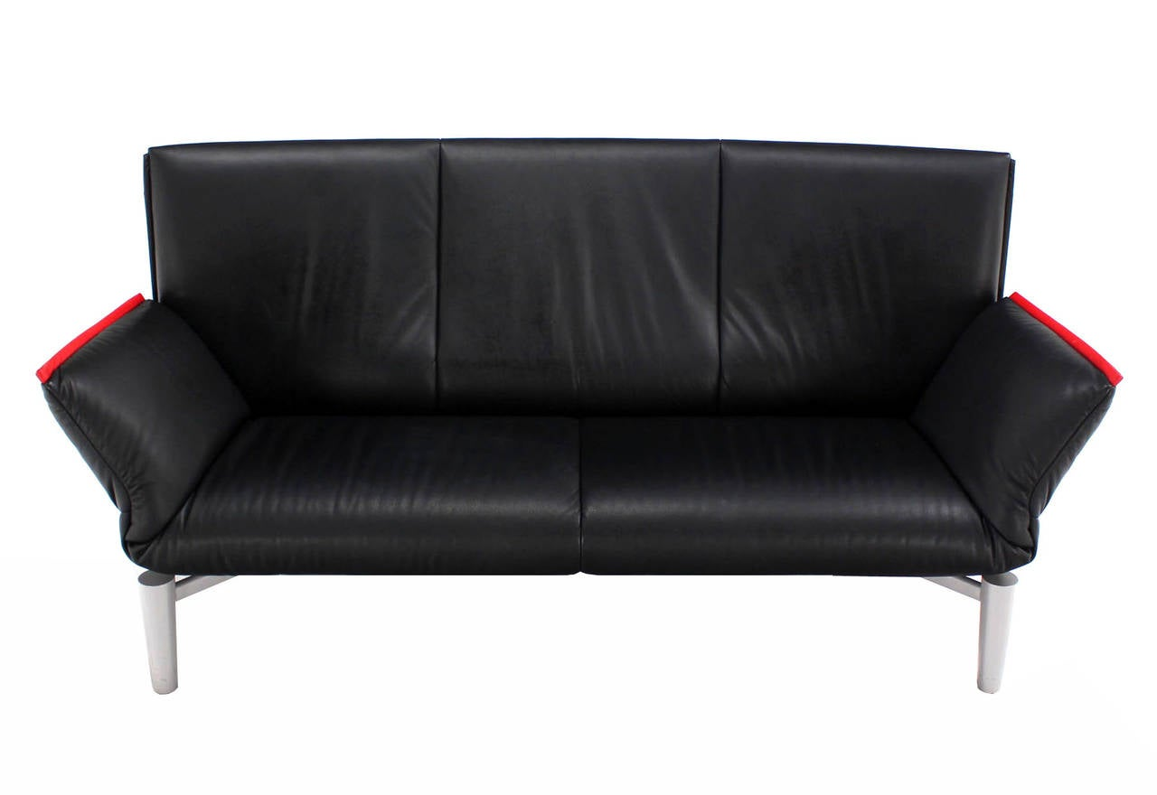 De Sede Vintage Black Leather Sofa With Drop Down Arms At 1stdibs