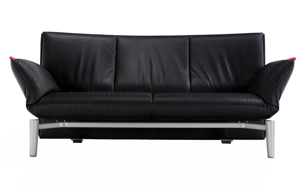 De Sede Vintage Black Leather Sofa with Drop-Down Arms For Sale at