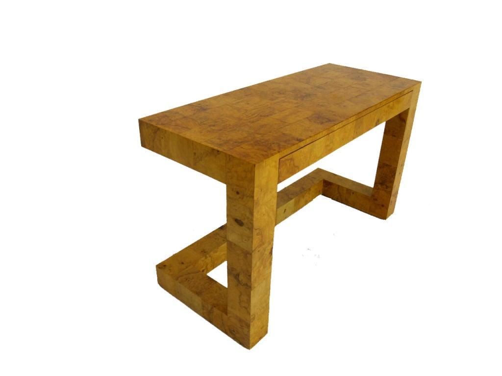Milo baughman patch burl wood vanity desk w matching bench