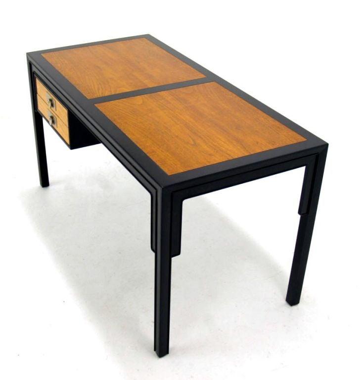 Baker mid century modern oriental style walnut desk with for Oriental style desk