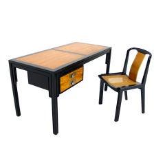 Baker Mid-Century Modern Oriental Style Walnut Desk with Chair