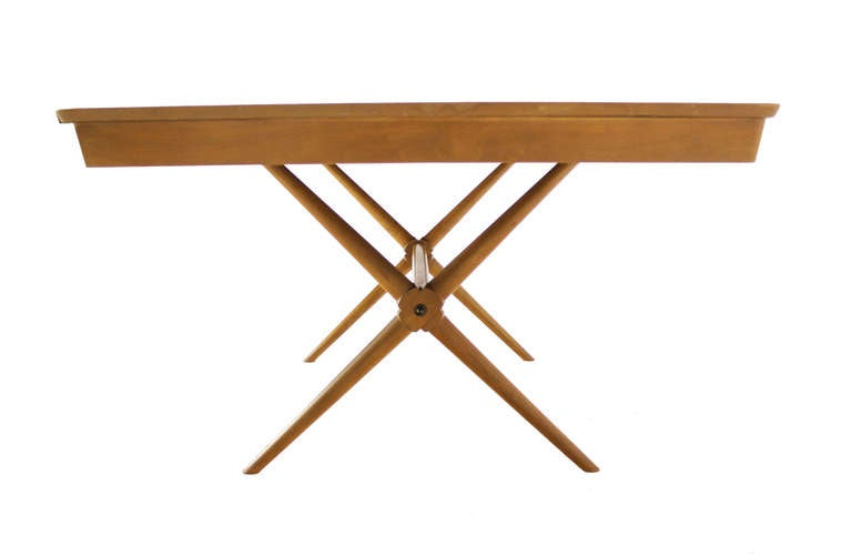 Mid Century Modern Birch X Base Dining Table W  Ext Leaves At - X base dining table