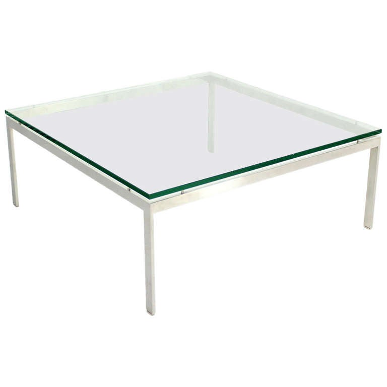 Large Square Stainless Base And Glass Top Mid Century Modern Coffee Table For Sale At 1stdibs