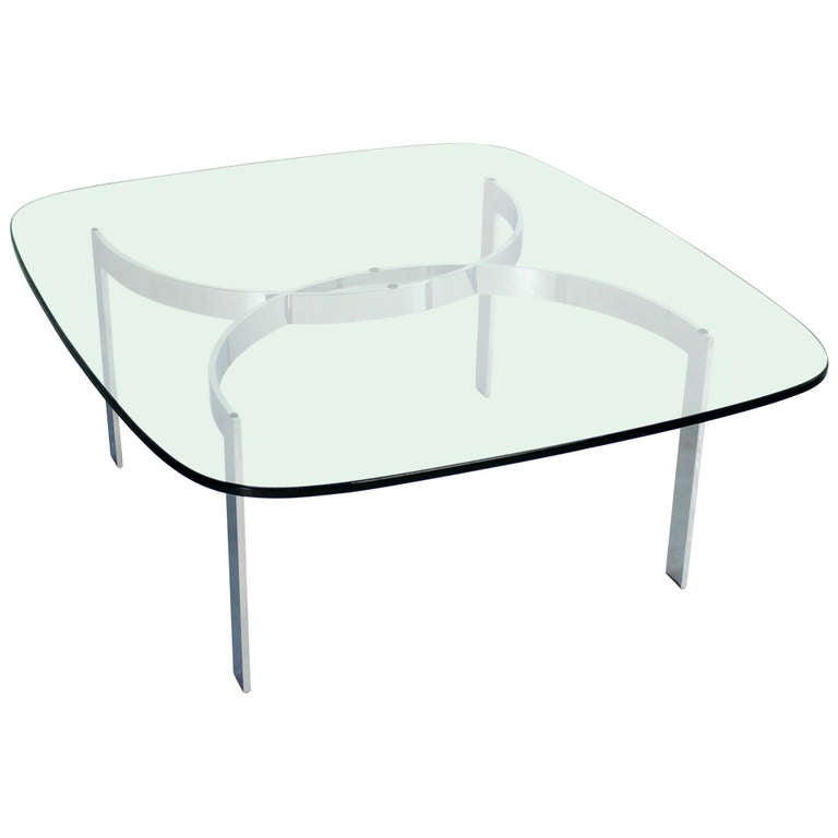 Mid-Century Modern Chrome and Glass-Top Coffee Table