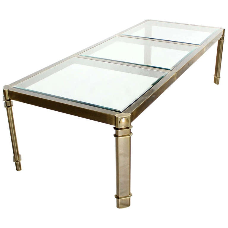 large glass and brass dining table by mastercraft mid