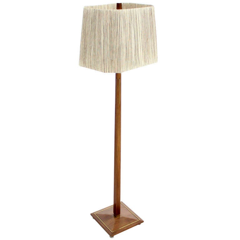 Brass Floor Lamp Mid Century: Mid-Century Modern Walnut And Brass Floor Lamps For Sale
