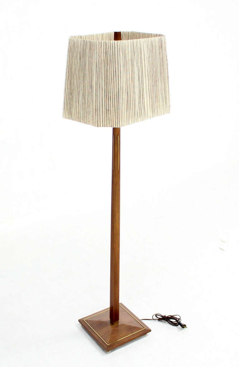 mid century modern walnut and brass floor lamps for sale. Black Bedroom Furniture Sets. Home Design Ideas
