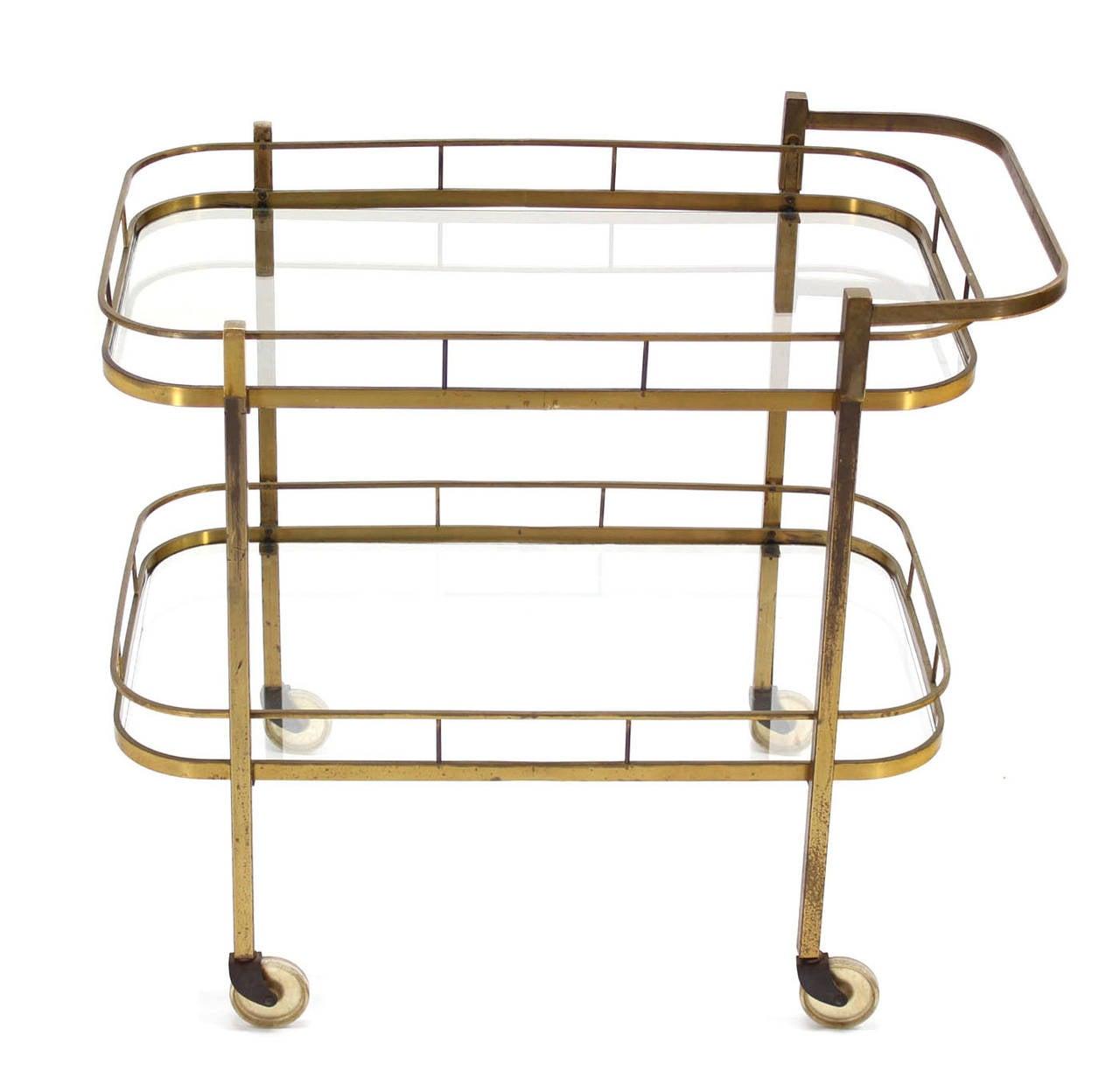 American Brass Tea or Bar Cart For Sale
