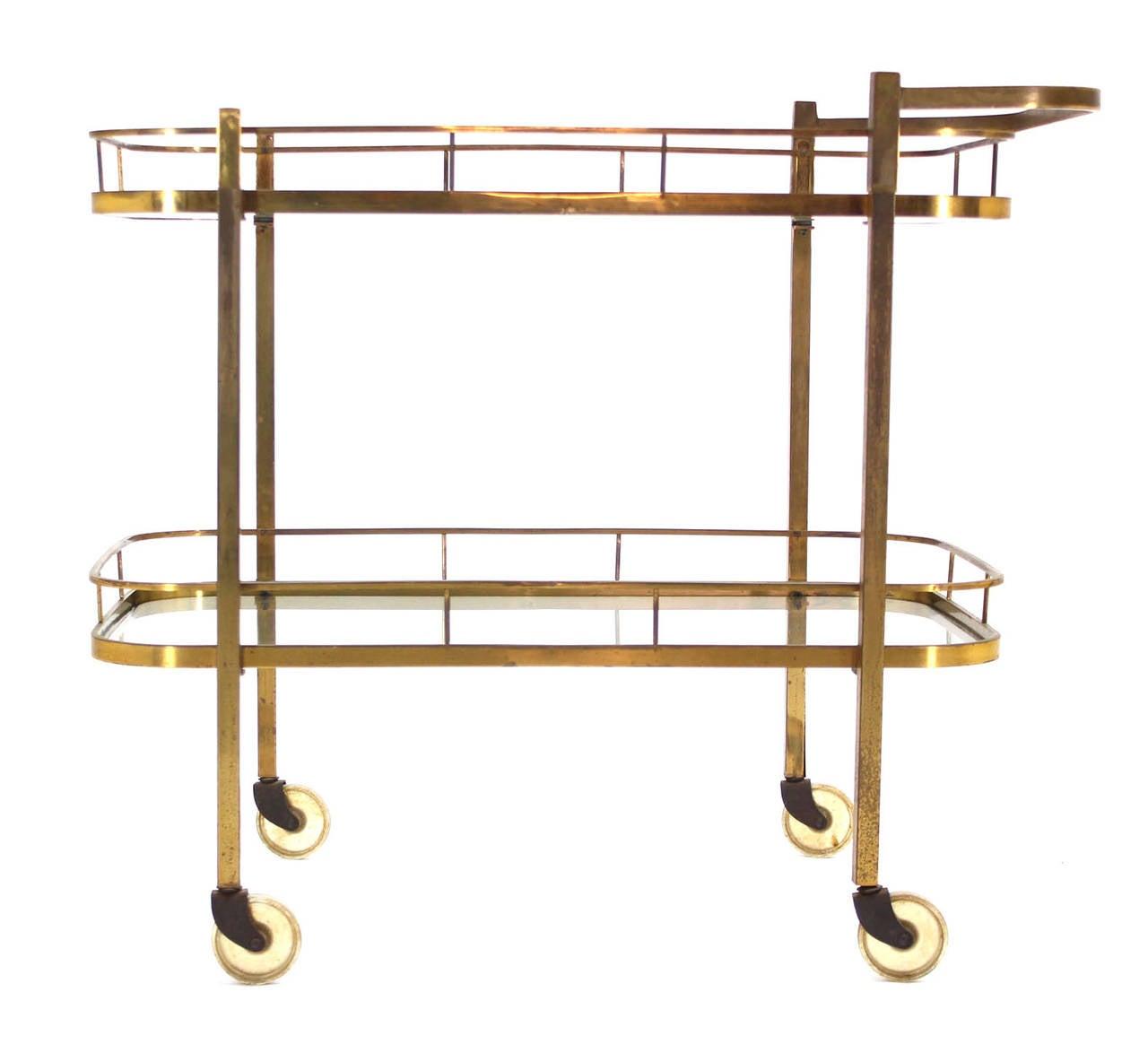Mid-Century Modern Brass Tea or Bar Cart For Sale