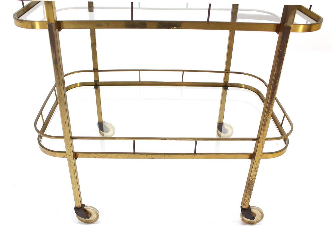 20th Century Brass Tea or Bar Cart For Sale