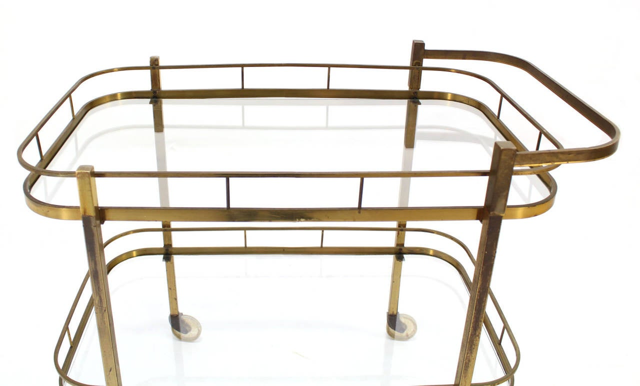 Brass Tea or Bar Cart In Excellent Condition For Sale In Elmwood Park, NJ