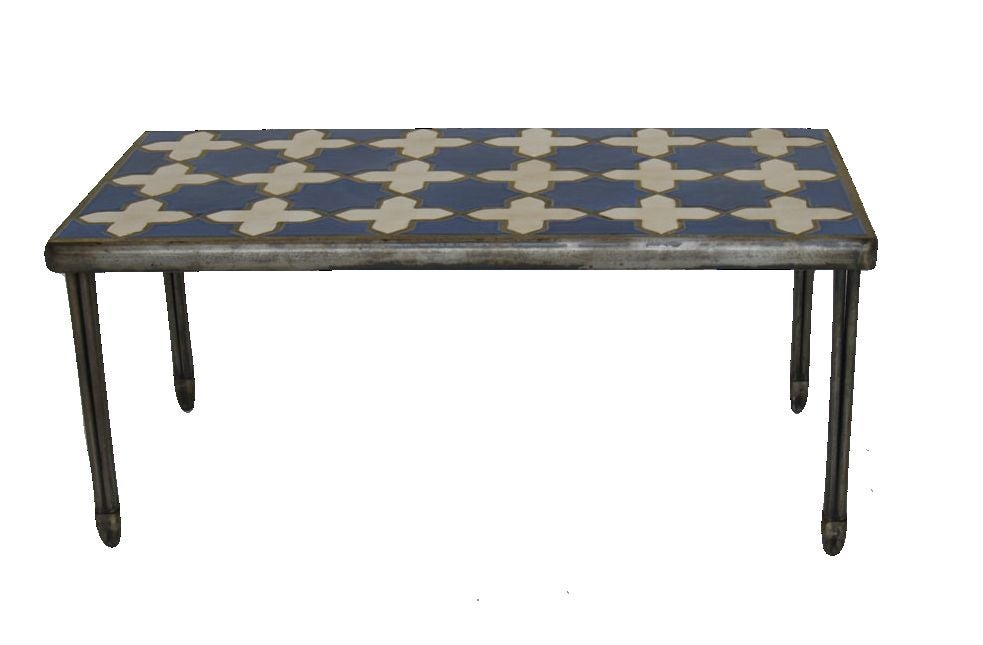 Steel Frame Decorative Tiles Coffee Table At 1stdibs