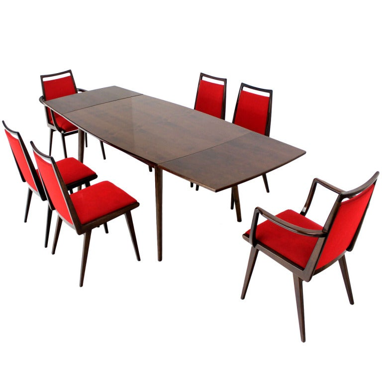 Mid century danish modern dining table with six chairs for Dining table set for 6