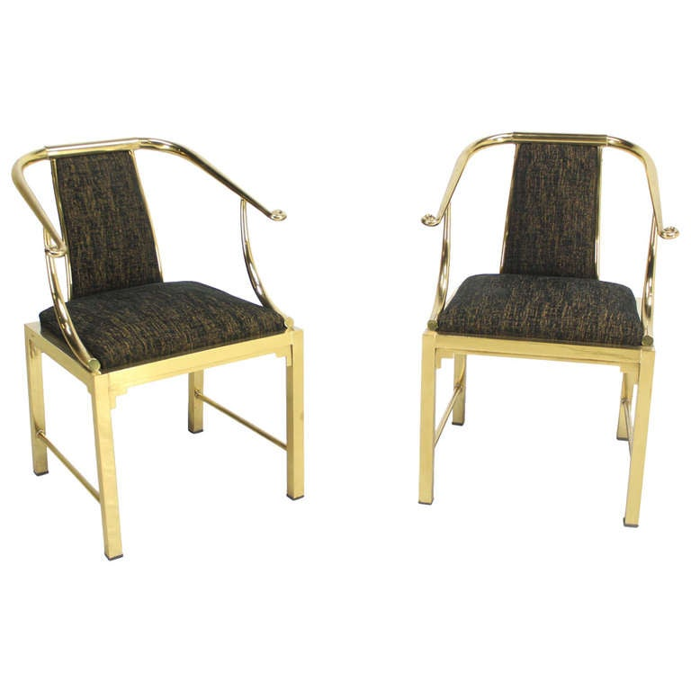 Superior Mastercraft Furniture For Sale #2: Mid-Century Modern Pair Of Brass Barrel Back Chairs By Mastercraft