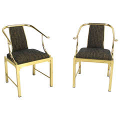 Mid-Century Modern Pair of Brass Barrel Back Chairs by Mastercraft