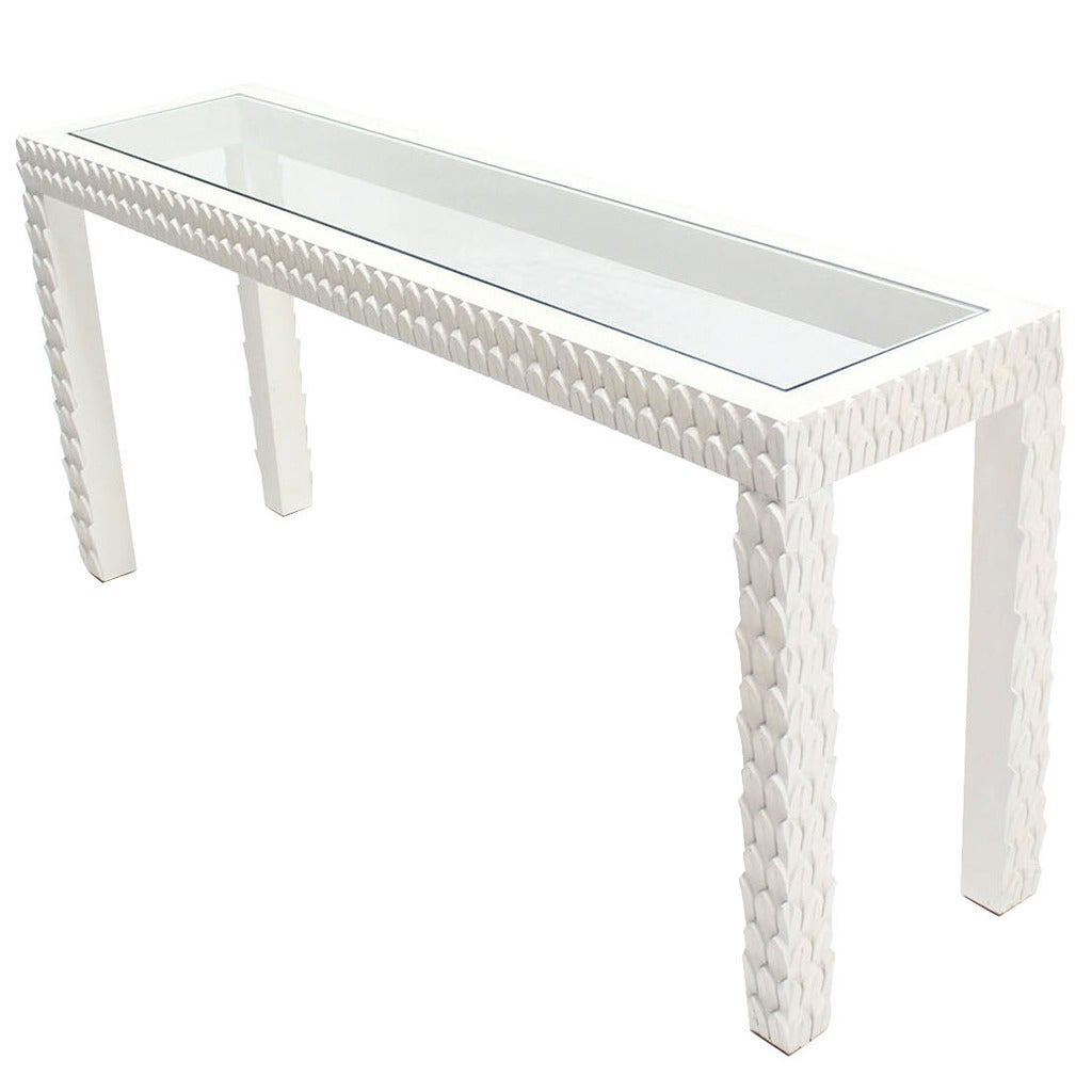 Pinele Pattern Carved White Lacquer Console Table For