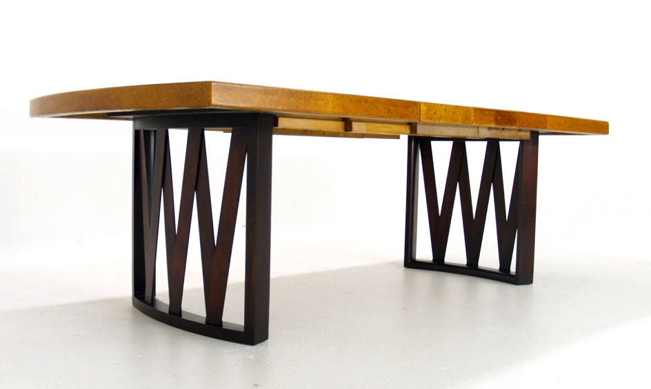 Paul Frankl For Johnson Cork Top Dining Table W 2 Leaves