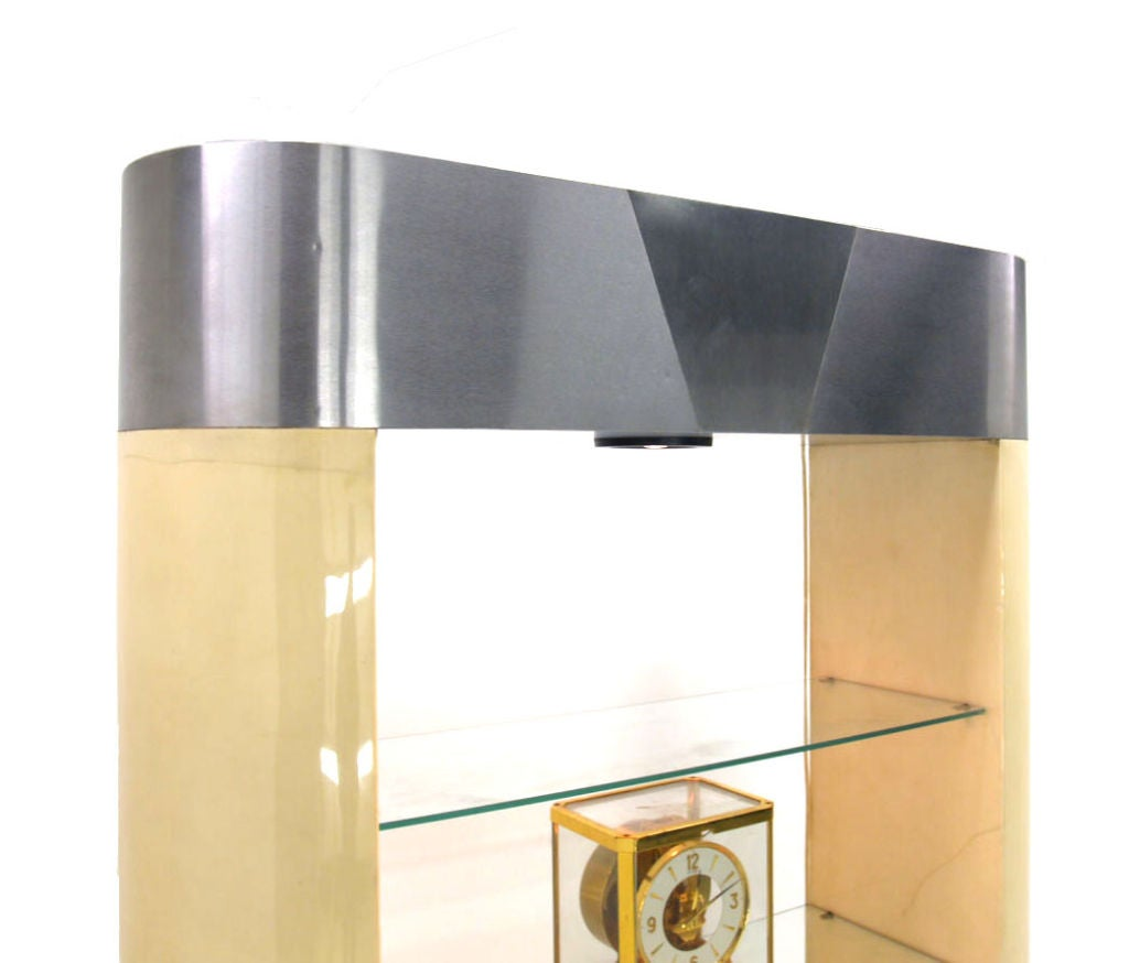 parchment goat skin etagere cabinet by karl springer at. Black Bedroom Furniture Sets. Home Design Ideas
