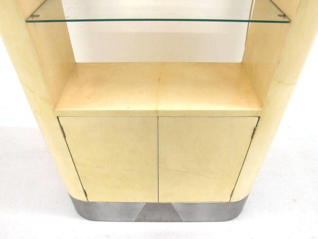 parchment goat skin etagere cabinet by karl springer at. Black Bedroom Furniture Sets. Home Design Ideas