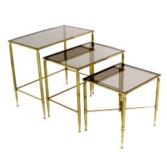 Solid Brass Smoked Glass Set of Three Nesting Stacking Tables