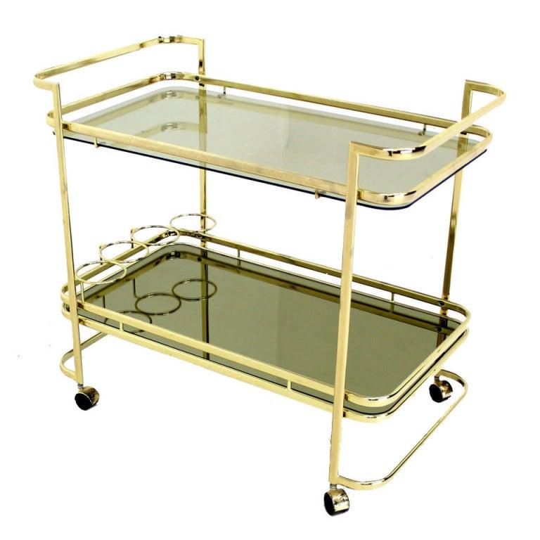 Mid Century Modern Smoked Glass Brass Metal Tea Cart At