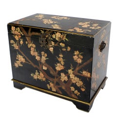 Oriental Hand Painted Black Lacquer Bar Chest Electric Lift Shelf