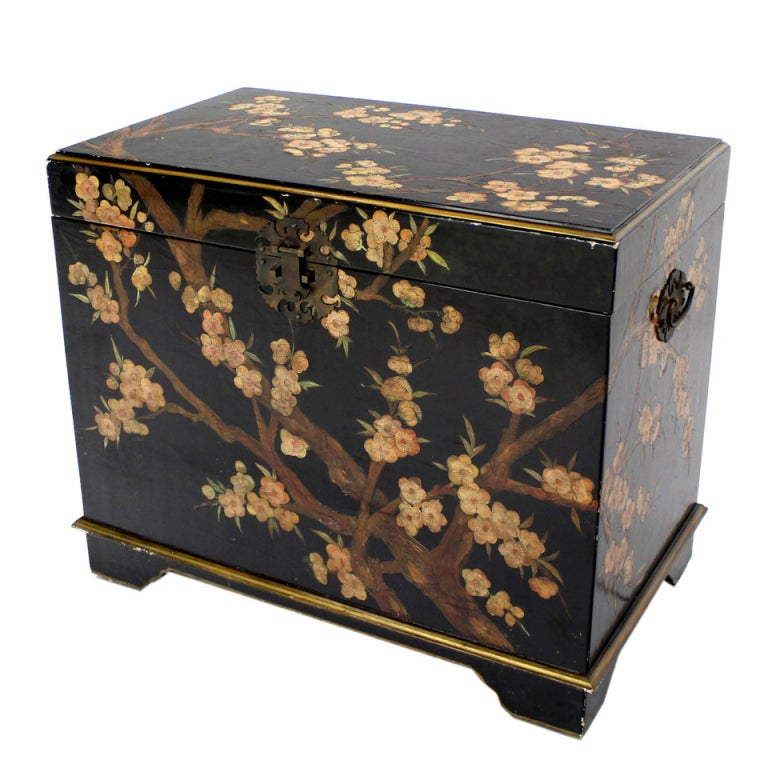 Oriental hand painted black lacquer bar chest electric for Oriental furniture for sale