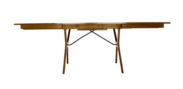 MidCentury Modern XBase Dining Table With Two Extension Boards - X base dining table