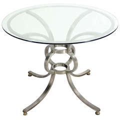 Heavy Steel and Brass Base Round Gueridon Display Table