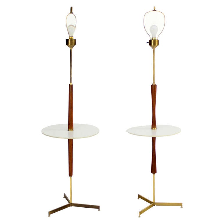 of mid century walnut and brass floor lamps with end tables at 1stdibs. Black Bedroom Furniture Sets. Home Design Ideas