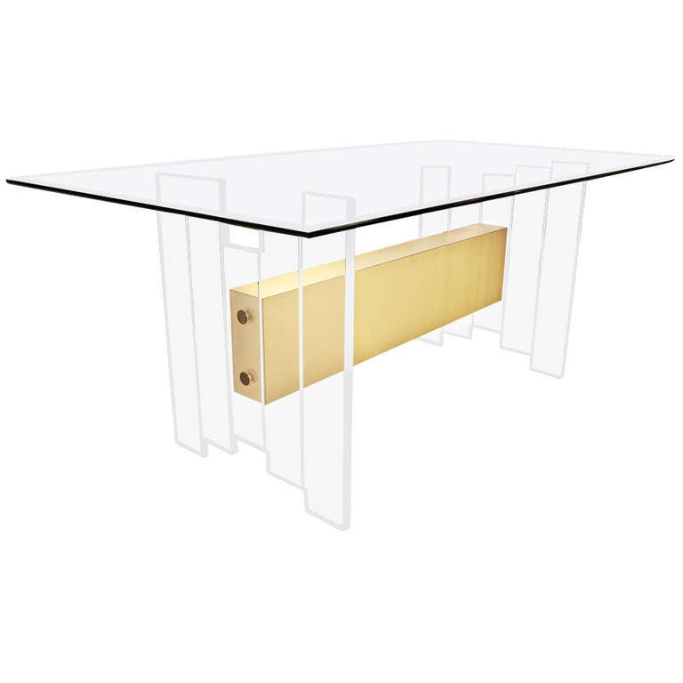 Mid Century Modern Lucite And Glass Top Dining Or Writing