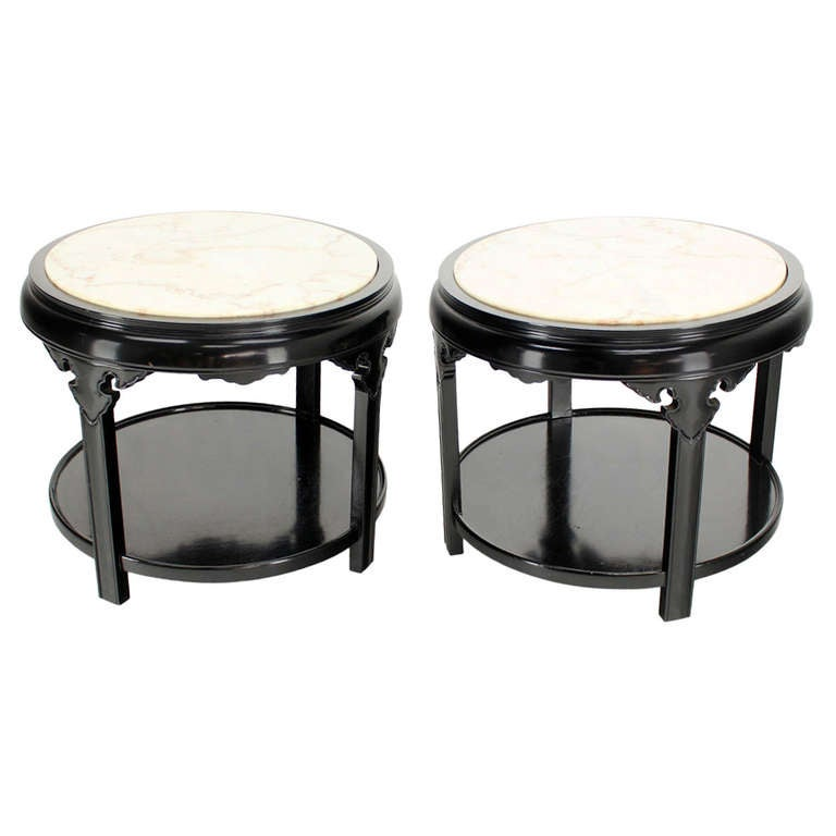 pair of round black lacquer asian inspired marble top end tables for sale at 1stdibs. Black Bedroom Furniture Sets. Home Design Ideas
