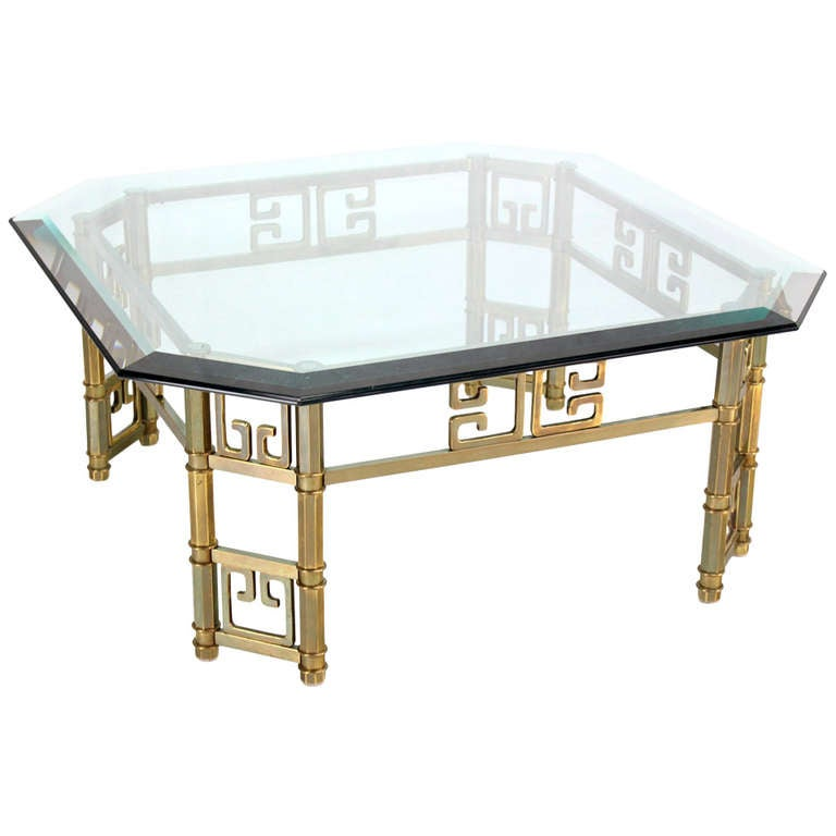 Mid Century Modern Brass And Thick Glass Top Square Coffee Table By