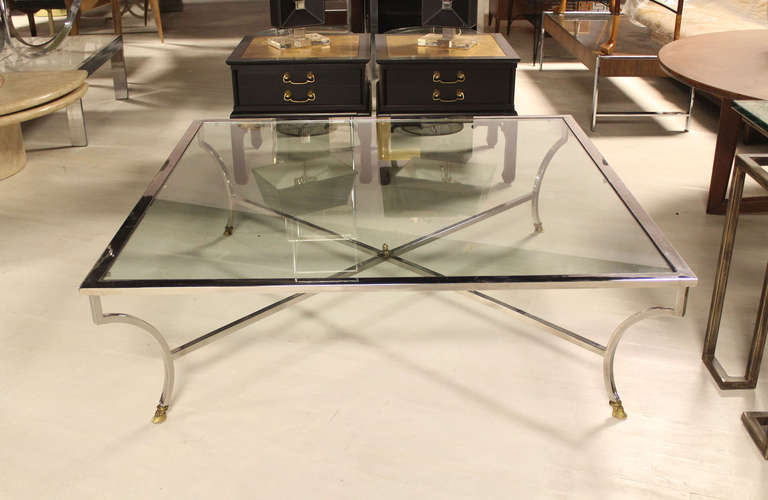 Oversized 54 Square Chrome And Brass Hoof Mid Century