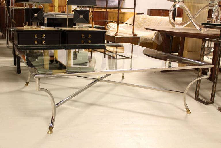 Oversized 54 Square Chrome And Brass Hoof Mid Century Modern