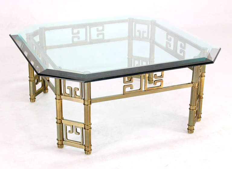 Mid Century Modern Brass Thick Glass Top Square Coffee Table By Mastercraft At 1stdibs