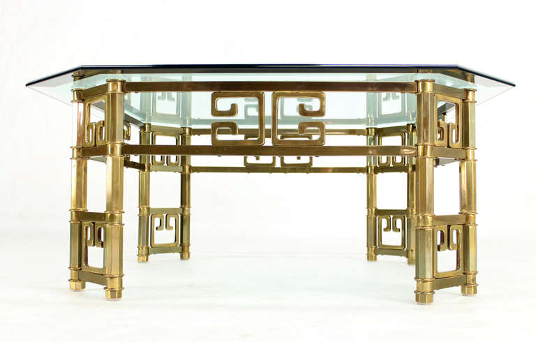 20th Century Mid-Century Modern Brass and Thick Glass-Top Square Coffee Table by Mastercraft For Sale