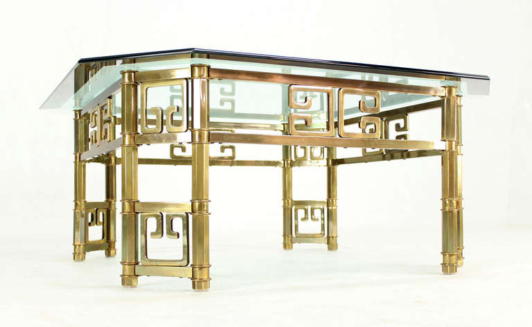 Mid-Century Modern Brass and Thick Glass-Top Square Coffee Table by Mastercraft For Sale 1