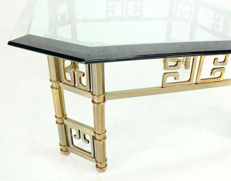 MidCentury Modern Brass and Thick GlassTop Square Coffee Table by