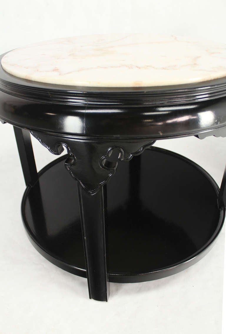 Pair Of Round Black Lacquer Asian Inspired Marble Top End Tables For Sale At 1stdibs