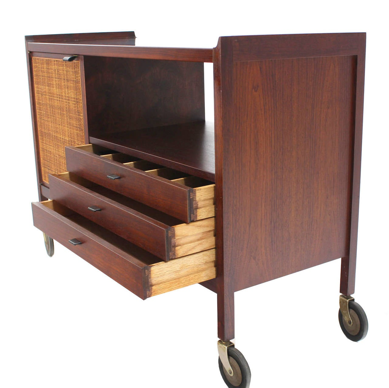mid century modern walnut bar cart with three drawers at. Black Bedroom Furniture Sets. Home Design Ideas
