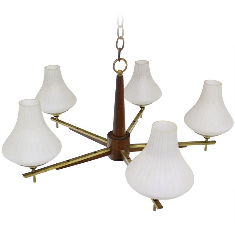 Danish Mid Century Modern Light Fixture Chandelier 5 Frosted Glass ...