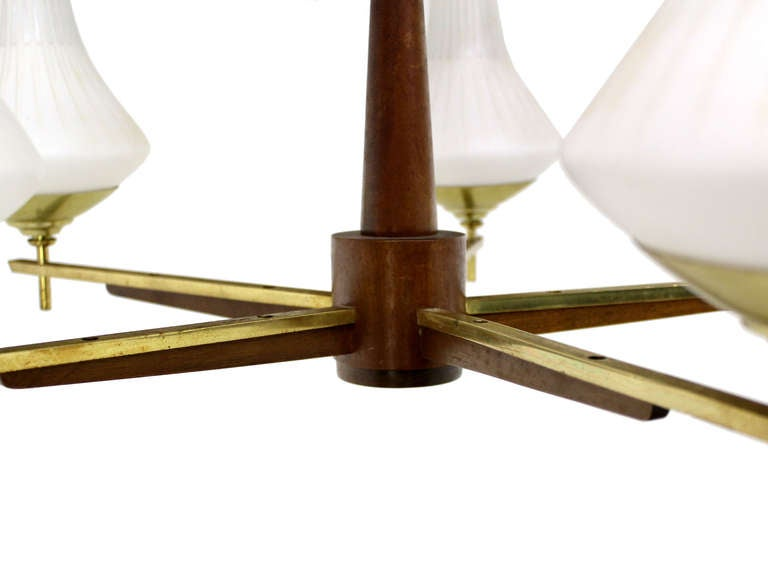 Danish Mid Century Modern Light Fixture Chandelier 5 Frosted Glass Shades For Sale 1